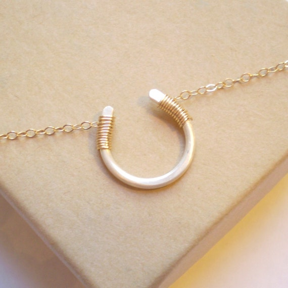 Luck Necklace - Mixed Metal - 14k Gold Filled Horseshoe and Sterling Silver Chain - Matte Finish