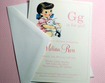 DIGITAL | G is for Girl Baby Girl Shower Invitation