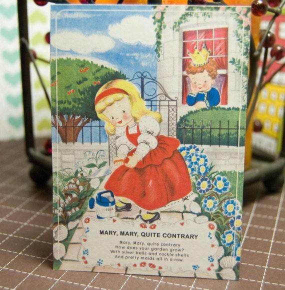 Vintage Mother Goose Full Color 5x7 Flashcards - Set of 10
