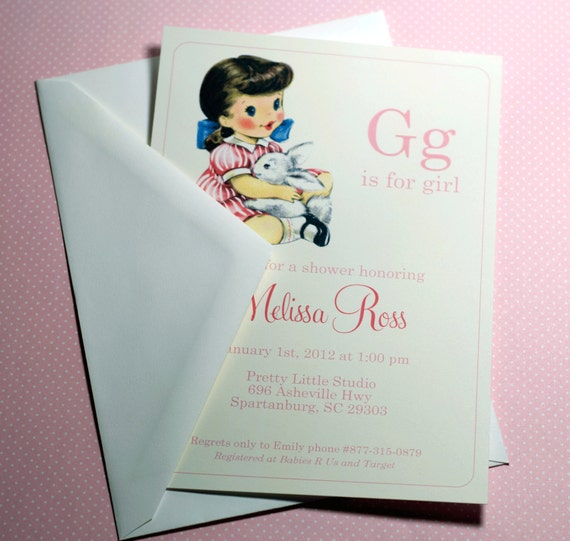 DIGITAL | G is for Girl Baby Girl Shower Invitation