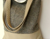 Wool\/Twill Tote Bag - khaki with army green herringbone