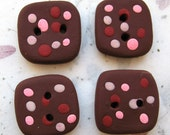 Brown and Pink Square Buttons