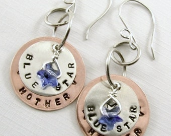 Blue Star Mother Sterling Silver and Copper Earrings (customizable)