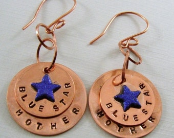 Blue Star Mother Copper Oxidized Disk Earrings Version 3