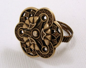 Brass Button Ring Size 5 3/4