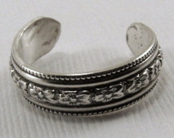 Sterling Silver Toe Ring - Any Size, Sterling Pattern Toe Ring, Toe Ring, Silver Toe Ring