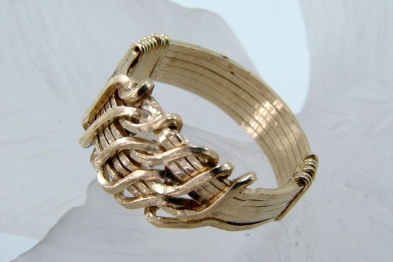 Gold Filled Wire Wrapped Wave Ring,-Any Size