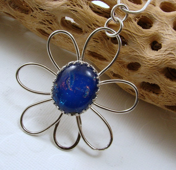 RESERVED FOR MK Sterling Silver and Dichroic Glass Flower Pendant