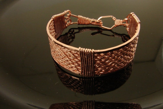 Copper Handwoven and Hand Wire Wrapped Bracelet