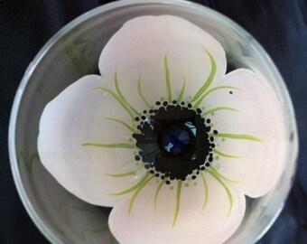 White Wedding Flower Hand Painted Wine Glass