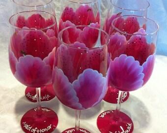 Stargazer Lily Wedding Party Glasses