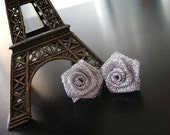 Silver Ribbon Rose Studs