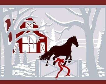 Horse barn scene