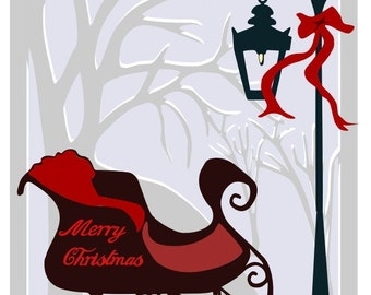 Sleigh scene for a Christmas Card - SVG and DXF file formats