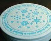 Let It Snow Coaster- letterpress printed, SET of 8