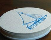 Blue Sail coaster- Letterpress printed, SET of 8