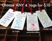 Your Choice Any 4 Bottle Tags- Letterpress printed Wine Tag, Gift Tag with PRIORITY SHIPPING