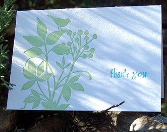 Garden Thank You - letterpress greeting card, SET of 6