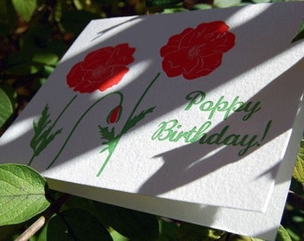 Poppy Birthday- letterpress, greeting card, folded, Single