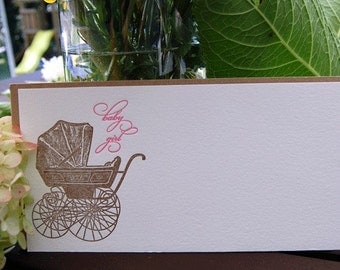 Baby Carriage Imprintable, Letterpress, SET of 10