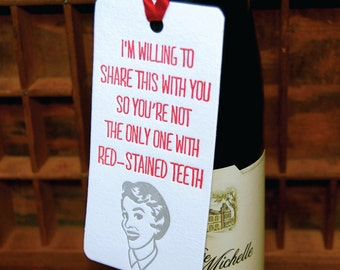 Red Teeth- Letterpress printed Bottle Tag, Gift Tag