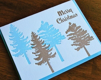 Merry Christmas Tree, Letterpress, folded cards, Single
