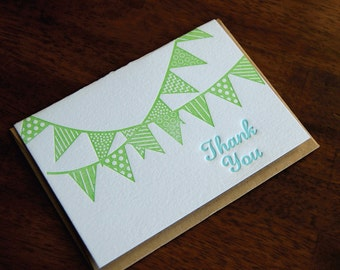 Thank You Bunting, Letterpress, folded cards, Single