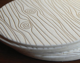 Wood Grain coaster- Letterpress printed, SET of 8