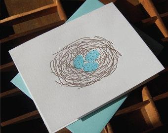 Nest, blank, letterpress, Set of 6