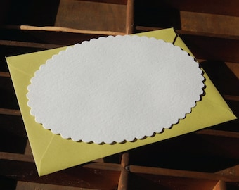 Oval Scalloped Note Card, blank, Set of 10