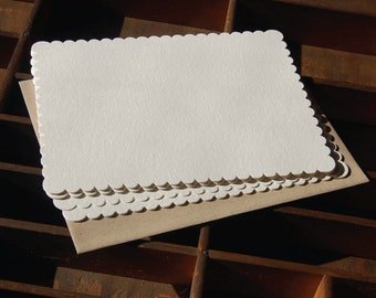 Rectangle Scalloped Note Card, blank, Set of 10