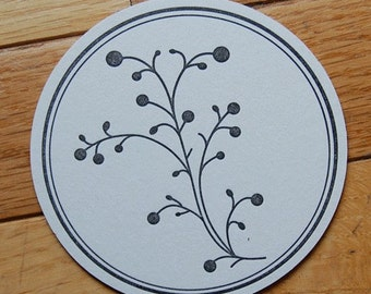 Berry Coaster in black- Letterpress, SET of 8