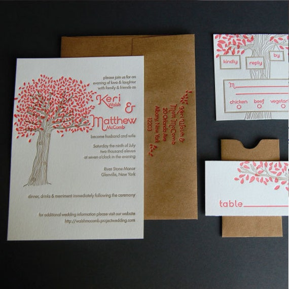 Riverstone Wedding Invitation- Letterpress, SAMPLE