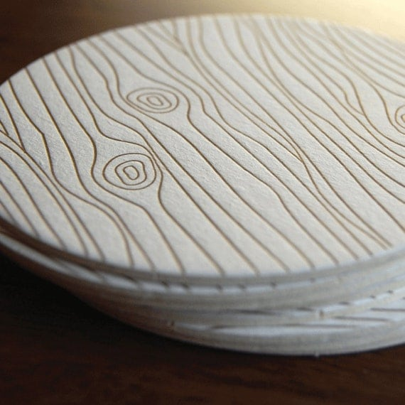 Wood Grain coaster- Letterpress printed, SET of 8
