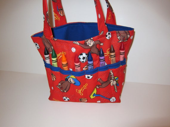 Curious George Tot Tote, Crayon Organizer, Design Your Own, 100s Fabric Choices, LBs Sewing Sanity