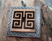 Unique Pendant, Metal and Wood - Free Shipping
