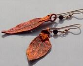 Copper Colored Laurel Leaf Earrings