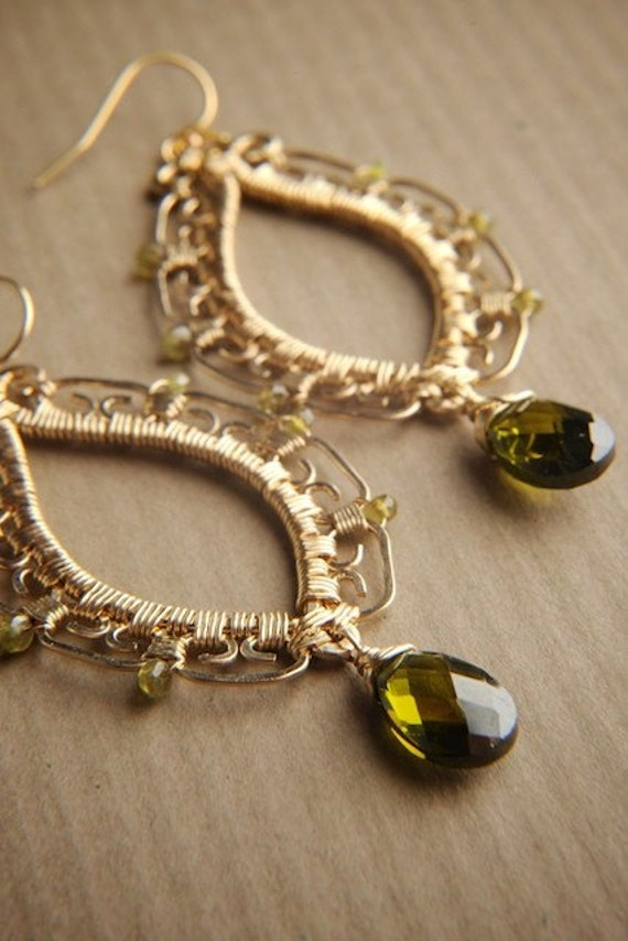 SALE 50% OFF - 14k Gold fill Earrings w/ Vesuvianite & Green CZ: Kyra
