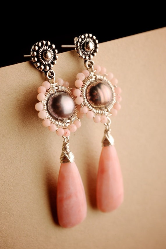 Reserved for Ute -FINAL SALE 50% off - Silver Earrings w/ Pink Peruvian Opal, Coral & Pearl: Anita