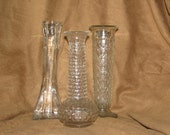 Lot of 3 beautiful vintage clear glass vases