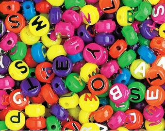 6 packages of Neon Alphabet Beads