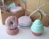 Sweet Treat Gift Set - Cotton Candy Mini Swirl Cupcake, Almond Scented French Macaron, 2 French Vanilla Mini Donuts - Goat's Milk - Gift Set