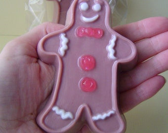 Gingerbread Man Cookie Soap - Goat Milk Soap -  Christmas - shaped soap - cute - Party favor - gift for her - teen gift - Wedding - food