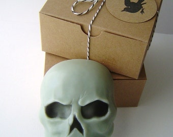 Handmade Skull Soap - Goat Milk Soap - French Vanilla or Leather Scented - Fathers Day gift - Gift for Him - Shaped Soap - Black Raven