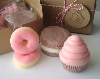 Sweet Treat Gift  Soap Set -  Mini Cupcake - French Macaron - Mini Pink Frosted Donuts - Handmade - goat milk soap - Valentines day gift