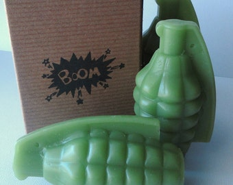 Hand Grenade Bomb Soap - Scented Root Beer - Glycerin  - Gift for Men - Novelty - Birthday gift - Him - Teen - Party favor - Shaped Soap
