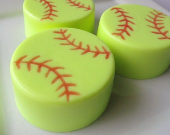 Softball Baseball Soap - Goats Milk Soap - Pineapple  or red apple scented - Fast Pitch - Gift for Her - Sport - Shaped Soap - Easter