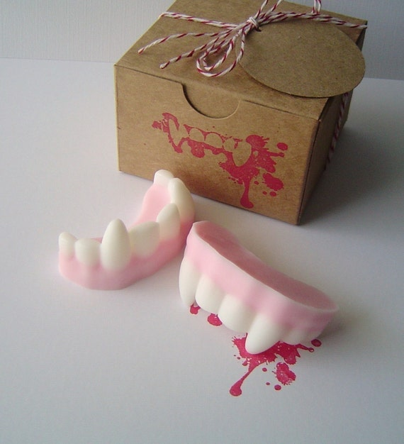 Vampire Fangs Soap - Box Gift Set - Glycerin Soap  - Scented Bite Me  - Easter Soap - Children - Novelty - Teen - Party Favor - Shaped Soap