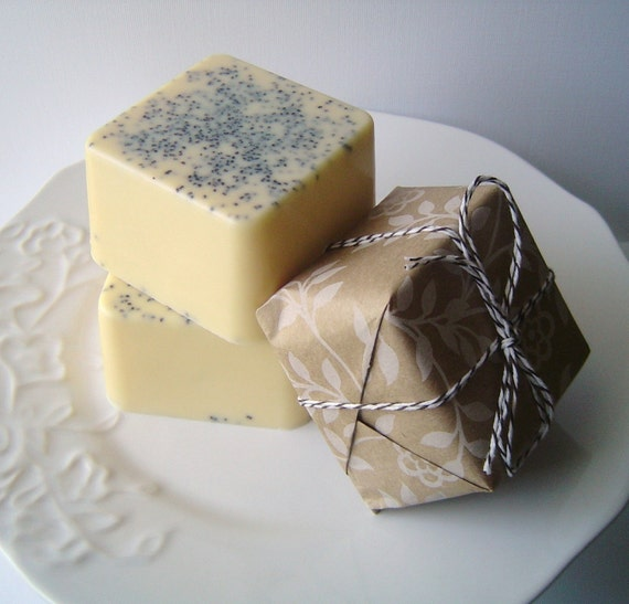 Soap - Lemon Poppy Cake Bar - Goat's Milk Soap - Featured on HGTV 15 Handmade Gift Ideas - Perfect for Christmas - For Her