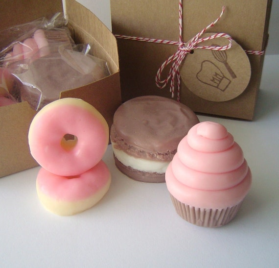 Mini Cupcake - French Macaron - Mini Pink Frosted Donuts - Sweet Treat Gift Soap Set - Valentines - goat milk soap - Sweet 16 - Fake food